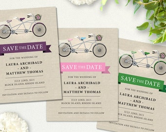 Tandem Bicycle Wedding Save the Date Flat Card or Postcard; Printable, Evite or Printed (US Only) Announcements, 4 color options