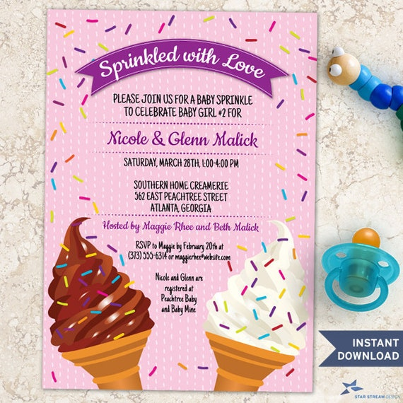 Printable Ice Cream Cones Pink Baby Sprinkle Shower Invitation