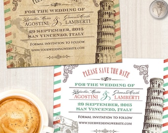 Vintage Italian Wedding Save the Date Card; Printable, Evite or Printed (US Only) Invitations