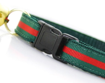 """Cat Collar - """"Crimson & Clover"""" - Green and Red Stripe - Breakaway Buckle or Non-Breakaway - Designer / Luxury - Sizes for Cats + Small Dogs"""