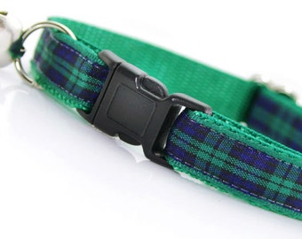 "Plaid Cat Collar - ""Highland Way"" - Blue Green Blackwatch Tartan - Breakaway Buckle or Non-Breakaway - Fall / Winter - Sizes for Cats + Dogs"