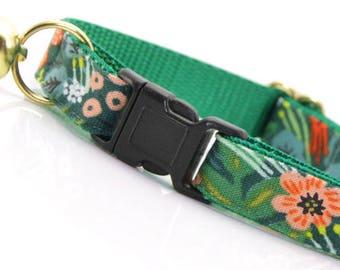 "Tropical Cat Collar Breakaway - ""Jungle Green"" - Rifle Paper Co® Cat Collar / Summer / Cat Collar Personalized - Cat, Kitten, Small Dog"