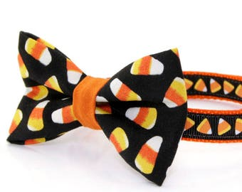 """Halloween Bow Tie Cat Collar Set - """"Trick or Treat"""" - Cat Collar + Candy Corn Bow Tie / Multiple Sizes"""