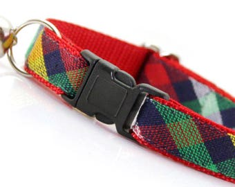 "Plaid Cat Collar - ""Art School Crush"" - Breakaway Cat Collar / Blue Cat Collar / Plaid Kitten Collar / Boy Cat Collar"