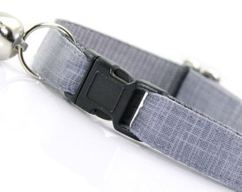 """Wedding Cat Collar - """"Steel Gray"""" - Solid Color Linen Textured Grey Cat Collar Breakaway / Cat, Kitten & Small Dog Sizes"""