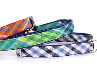 Cat Collar / Plaid Cat Collar / Cat Collar Breakaway / Boy Cat Collar / Cat Collar Personalized - Red, Yellow, Green, Blue Cat Collars