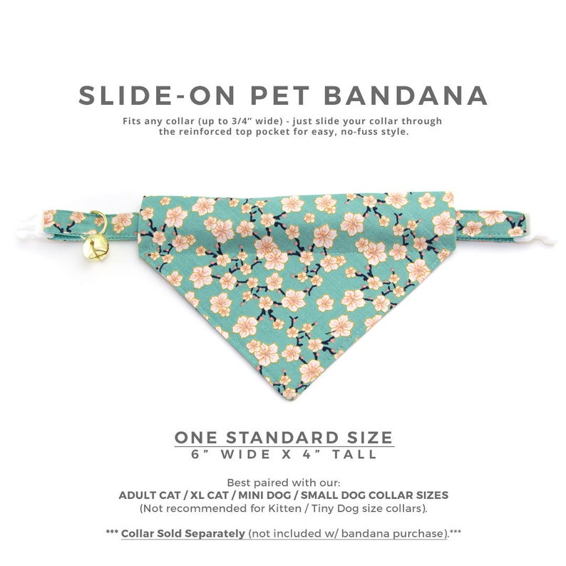 Small Dog  Mother/'s Day  Slide-on Bandana  Over-the-Collar Cat Bandana Cherry Blossoms Teal  Mint Spring Floral Bandana for Cat