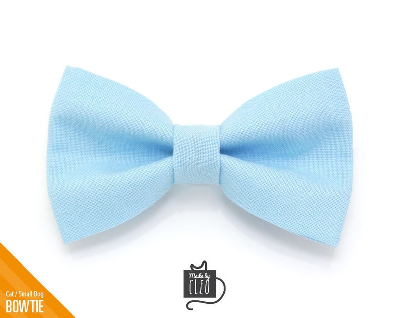 One Size Cat Bow Tie Baby Blue Color Collection Light Blue Cat Collar Bow Tie  Kitten Bow Tie  Small Dog Bowtie  Removable