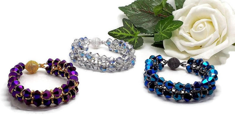 Clear iridescent Crystal Bicone Chain Maille Bracelet