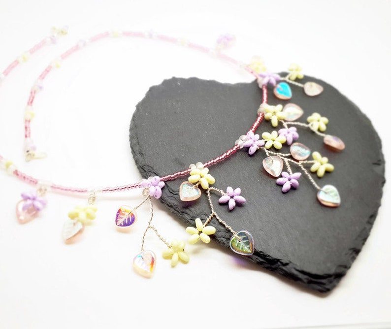 Boho Necklace Summer Jewellery Pink Twisted Wire Summer Floral Beaded Necklace
