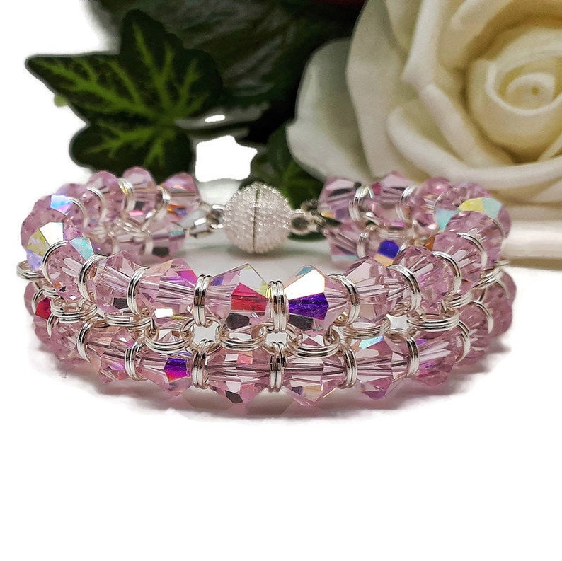 Candyfloss Pink Crystal Bicone Chain Maille Bracelet