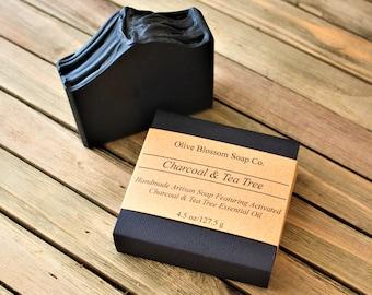 Charcoal & Tea Tree Soap, Face Soap, Acne Soap, Handmade Soap, Cold Process Soap, Bar Soap, Black Soap, Vegan Soap, Palm Oil Free Soap