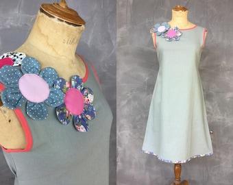 Flower blue linen cotton dress