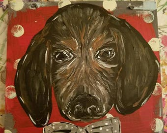 Puppy with Bow Tie Painting