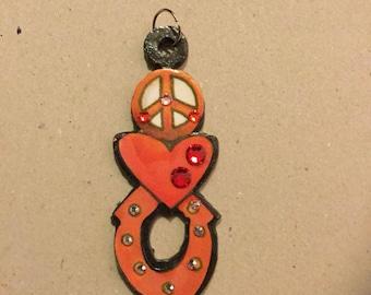 Peace and Love Metal Charm