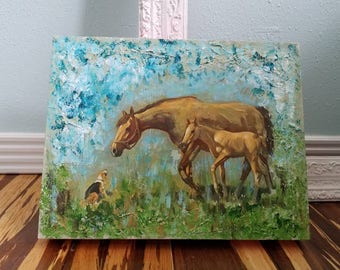 Mixed Media Mare and Foal Painting