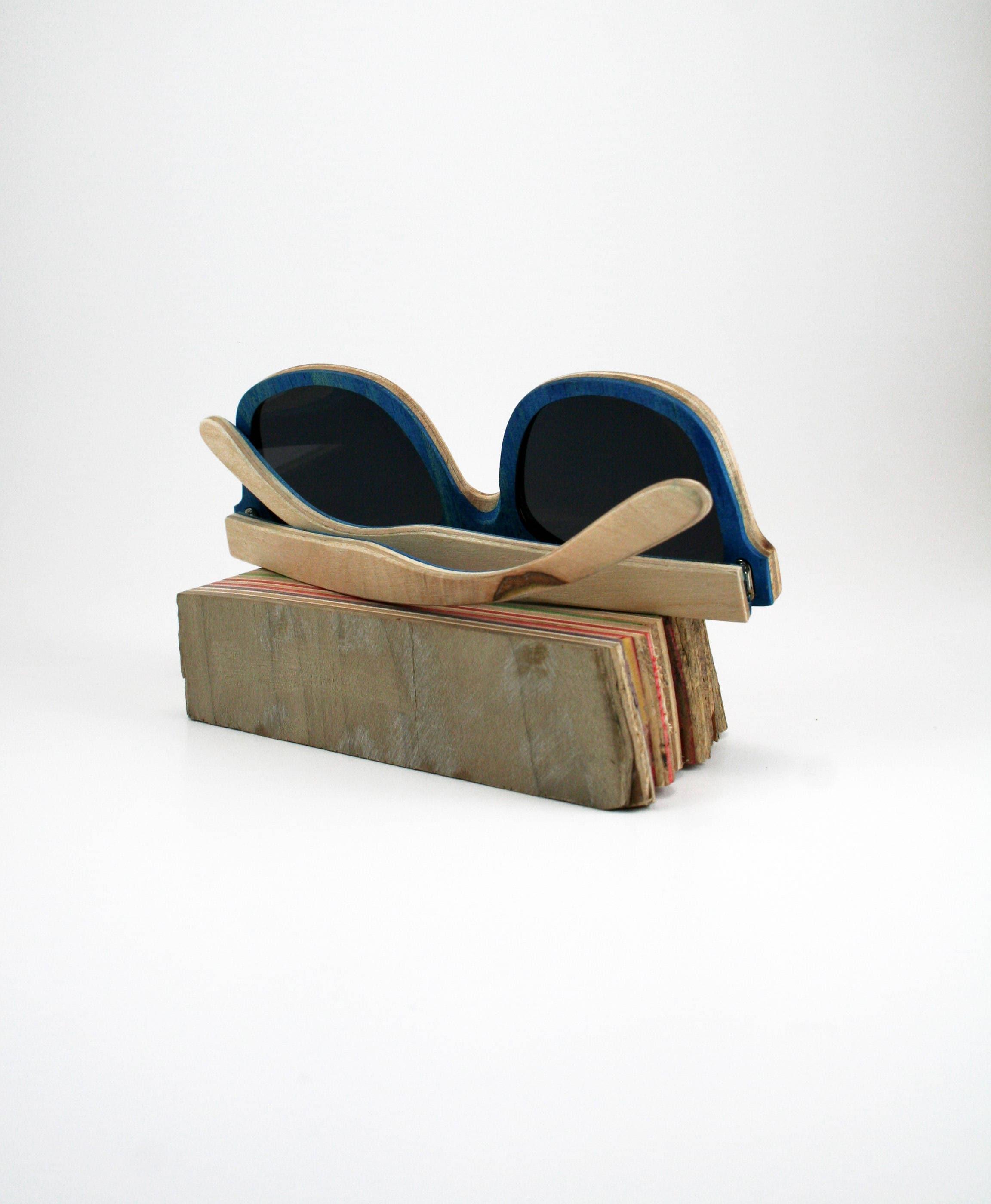 Recycled wooden skateboard sunglasses madeincanada