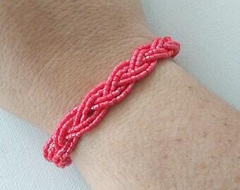Coral bracelet beaded bracelet seed bead bracelet bridesmaids bracelet bridesmaid gifts pink bracelet braid bracelet boho bracelet bridal