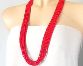 Long Red necklace, beaded necklace, seed bead necklace, multistrand necklace, boho necklace, Christmas day gift, Valentines Day gift for her