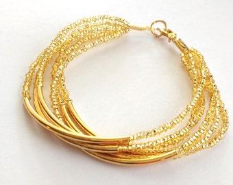 Gold bar bracelet beaded bracelet multistrand bracelet gold bracelet seed bead bracelet bridesmaid gifts bridesmaid bracelet boho chic