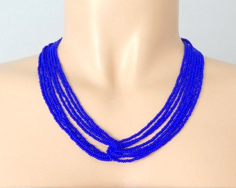 Royal blue necklace, seed bead necklace, beaded necklace, bridesmaid necklace, boho necklace,multistrand necklace,wholesale boho,for her