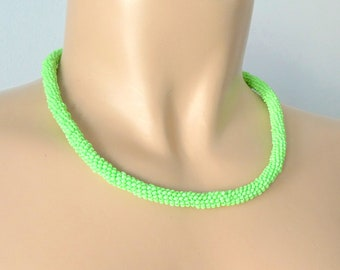 Multistrand necklace  yellow necklace  Bright jewelry  Textile yellow necklace  Multistrand coloured necklace  Green neon necklace