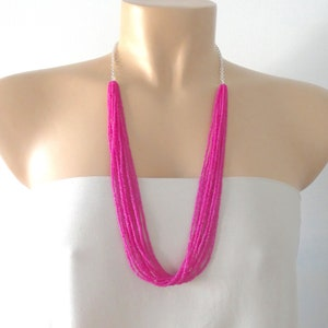 Reversible Statement Necklace in Red /& WhiteBlack--Fluorescent 3D Printed Jewelry--Stacked Asymmetrical--Neon Contemporary Mod Necklace