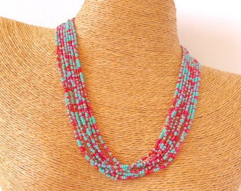 Turquoise necklace,raspberry necklace,bridesmaid necklace,seed bead necklace,wedding jewelry,bridesmaid gifts,beaded necklace, boho chic
