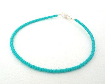 Turquoise bracelet dainty bracelet seed bead bracelet beaded bracelet boho chic teal bracelet aqua bracelet minimalist bracelet delicate