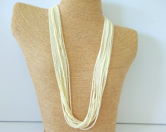Ivory necklace,off white necklace,wedding jewelry,bridesmaid necklace,seed bead necklace,bridesmaid gifts,cream,bridal party necklace