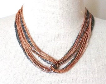 Copper necklace statement necklace boho necklace multistrand necklace boho chic gift for women brown necklace charcoal necklace rose gold