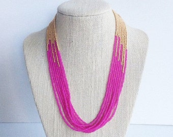 Hot pink and gold necklace, seed bead necklace,hot pink necklace, neon pink,  beaded necklace, fuchsia and gold, gold, multistrand necklace