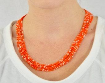Orange necklace,seed bead necklace, bridesmaid necklace, beaded necklace,multi strand necklace, boho necklace, summer, long boho necklace
