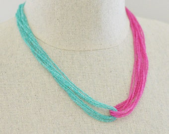 Bridesmaid gifts, bridesmaid jewelry multistrand necklace, turquoise necklace, beach wedding beach bridal shower,layered necklace, hot pink