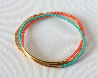 Set of 3 Gold bar bracelet turquoise bracelet, stacking,minimalist bracelet,seed bead bracelet,noodle orange bracelet summer beach wedding