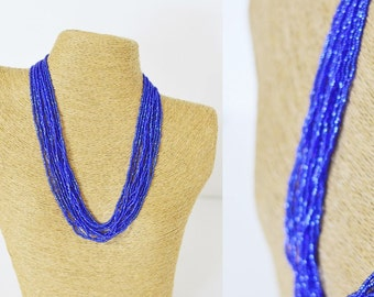 Blue necklace statement necklace boho chic necklace multistrand,beaded necklace,seed bead necklace,wedding jewelry,bridesmaid gifts,for her
