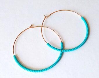 Large 14kt Gold filled hoops, turquoise hoop earrings, teal hoops,seed bead earring,round earrings,beaded earring,dainty earring,thin hoops