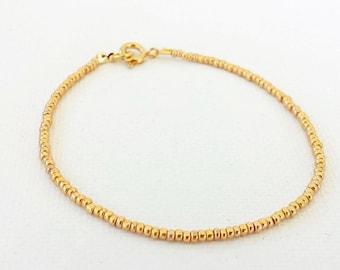 Gold bracelet, minimalist bracelet, anklet, beaded bracelet,seed bead bracelet,friendship bracelet,bridesmaid gifts,bridal party gifts,boho