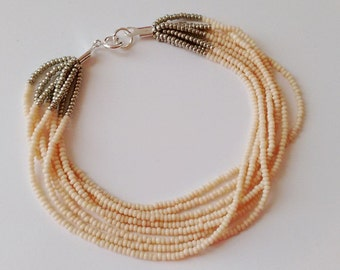 Blush bracelet,ankle bracelet,flower girl bracelet,bridal party gifts,tea color and silver bracelet,beaded bracelet,ivory seed bead bracelet