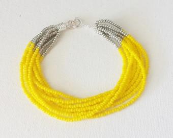Yellow bracelet beaded bracelet, multistrand bracelet bridesmaid bracelet flower girl bracelet seed bead bracelet bridesmaids gifts for her