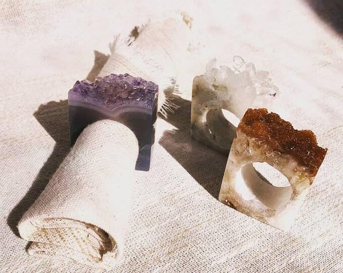 Amethyst or Citrine Geode Napkin Rings - Set of 4