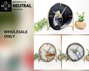 WHOLESALE ONLY | NEUTRAL Collection | Mod Agate Desk Clock