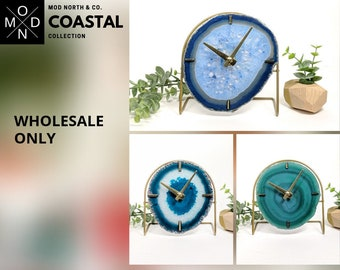 WHOLESALE ONLY | Coastal Collection | Mod Agate Desk Clock