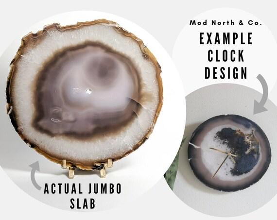 """9"""" JUMBO Natural and Gray Agate Slab Wall Clock"""