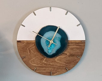 """12"""" Kismet Horizontal Choose Your Agate + Wood Wall Clock 