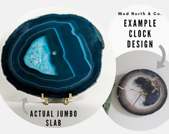 "10"" JUMBO Teal Agate Slab Wall Clock"
