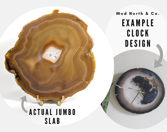 "9.5"" JUMBO Natural Agate Slab Wall Clock"