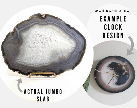 "11.5"" JUMBO Gray Agate Slab Wall Clock"