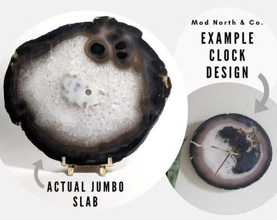 "9"" JUMBO Dark Gray Agate Slab Wall Clock"