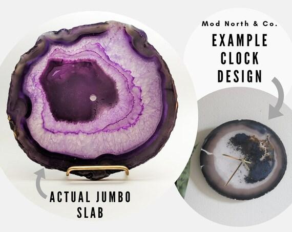 """10"""" JUMBO Purple Agate Slab Wall Clock"""